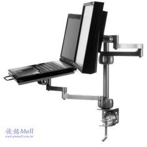 【俊銘Mall】夾桌式螢幕筆電支架 GM004,適用至23吋液晶螢幕,支臂可左右高度調整、電腦托盤可傾斜角度調節功能,有現貨,(歡迎來電洽詢優惠-可批發/零售/來店自取)