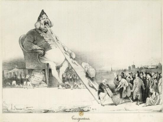 写实主义-杜米埃 以作家哈伯雷(Rabelais)笔下的贪吃巨人卡冈杜阿(Gargantua)来讽刺当时的政治人物贪得无餍